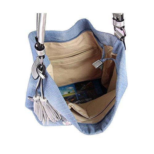 OBC design italiano XXL donna Stella Borsetta Tela Cotone In strass Oro-argento Bowling Borsa marsupio Hobo-Bag Manico Shopper CrossOver - BLU 48x30x17 cm, ca 48x30x17 cm ( BxHxT ) jeans blu argento (paillettes)