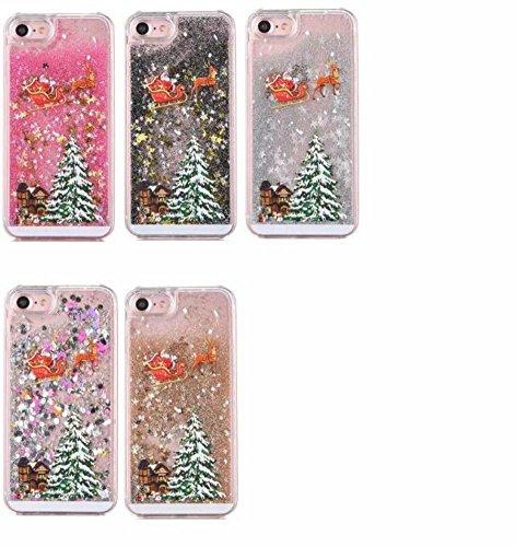 Coque iPhone 7 Transparent Glitter Liquide 3D Bling Étoiles Paillettes Arbre de Noël Etui pour iPhone 7 Housse Silicone PC Plastique Rigide Shell Housse de Protection Bumper Case Cover Couverture Anti Multicolore