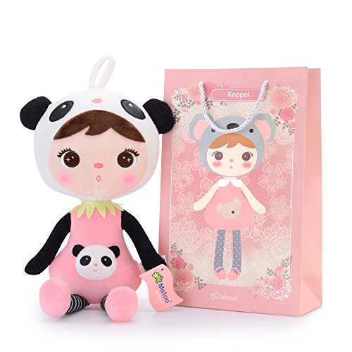 Metoo Gibao Serie Plüschpuppe Puppe für Baby und kleine Mädchen Geburtstagsgeschenk für Kinder (Panda-Mädchen-Puppe) (Weihnachts Elfen Dekoration)