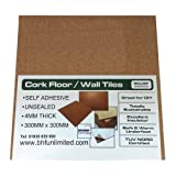 20 X NATURAL CORK TILES (SELF ADHESIVE) FOR FLOOR/WALL/DIY 300x300mm (4mm thick)