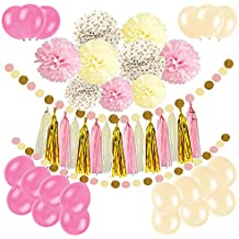 Newland 46 papel de seda de las PC, 9 pompones Pom Poms, guirnalda de 15 borlas, 20 globos del látex, guirnalda del papel de 2 puntos, para el cumpleaños, el casarse, la fiesta de bienvenida al bebé, los partidos, las decoraciones principales, las decoraciones del partido (Rosa)