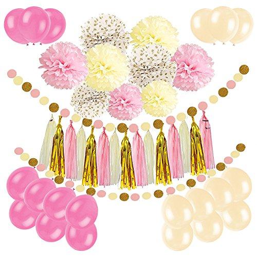 5. Party Geburtstag Favors (Newland 46 Pcs Seidenpapier, 9 Pompons Pom Poms, 15 Quasten Girlande, 20 Latex Ballons, 2 Polka Dot Papier Girlande, für Geburtstag, Hochzeit, Baby Dusche, Parteien, Hauptdekorationen, Partei Dekorationen (Rosa Weiß Gelb))