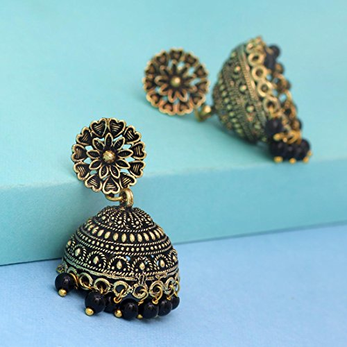 Jaipur Mart Jhumki Earrings for Women (Black)(GSE600)