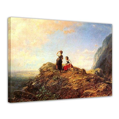 Wandbild Carl Spitzweg Zwei Mädchen auf der ALM - 70x50cm quer - Alte Meister Berühmte Gemälde Leinwandbild Kunstdruck Bild auf Leinwand