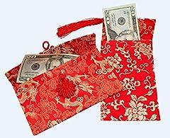 Idea Regalo - Dmtse cinese elemento festive seta rosso buste buste di carta regalo 2PCS/set