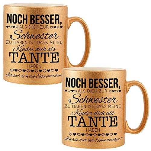 Schwesterngeschenk – 2 Becher mit Spruch Gold: Geschenk für die Schwester – Kaffeebecher