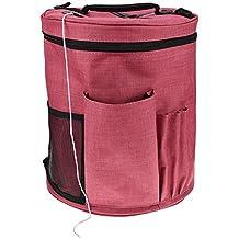 Bolsa de tejer, sundlight 28 cmx32 cm grande lana bolsa de almacenamiento organizador ganchos de