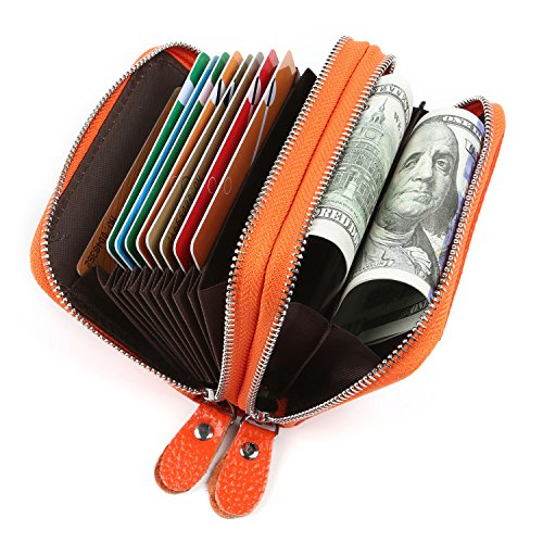 Kreditkartenetui Damen Bunt Echt Leder, Geldbörse Damen Reißverschluss Zip Around Mini Handtasche mit Münzen Tasche RFID Blocking (Orange)