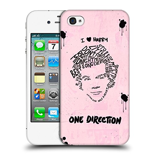 Head Case Designs Offizielle One Direction Harry Rosa BG Text Illustration Faces Harte Rueckseiten Huelle kompatibel mit iPhone 4 / iPhone 4S
