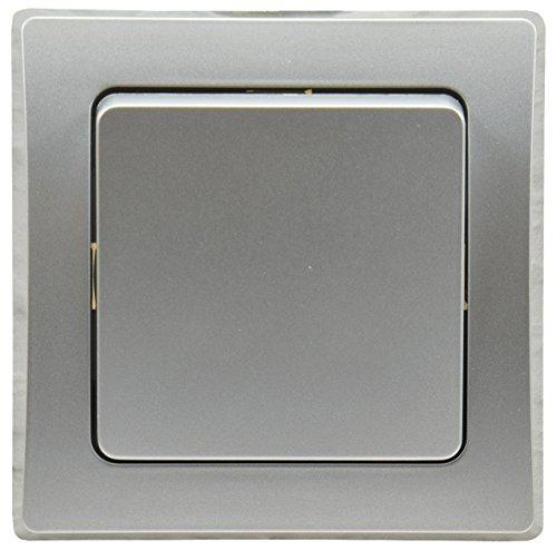 ChiliTec Delphi Komfort Wechsel-Schalter Lichtschalter Unterputz Einbau 250V~ AC inkl. Rahmen Klemmanschluss Silber -
