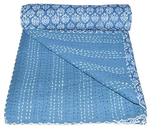Vedant Designs Indigo Blau Baumwolle Kantha Quilt Twin Tagesdecke 228,6x 152,4cm, Blau -