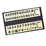 amupper Messing Nr. Buchstabe Schablonen–Metall Vorlagen mit viel Symbole–Set von 2