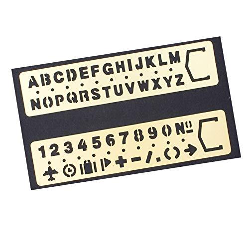 Numero Lettera Stencil in Ottone - Amupper Templates in Metallo con un Sacco di Simboli - Set di 2