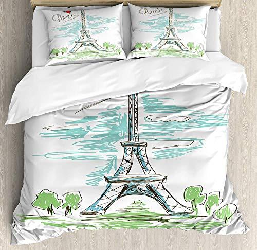 Minalo Paris Bettwäsche-Set, Touristische bunte Skizze des Eiffelturms in Paris französischer Stil, Reise-Illustration, 4-teiliges Bettwäsche-Set mit Kissenbezügen, Doppelbett, mehrfarbig, multi, Twin