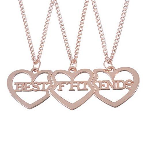 #MJartoria Damen Kette Rosagold Farbe Drei Herz Anhänger Freundschaftsketten mit Gravur Best Friends Forever BFF Halskette 3 Stück (Rosagold Farbe)#