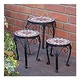 Set di 3 sgabelli per fiori con mosaico in ceramica, supporto metallico rotondo per fiori da giardino o terrazzo