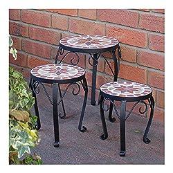 Garten /& Balkon Vintage Deko antiker Blumenst/änder f/ür Topfpflanze dunkelgr/ün Gusseisen Relaxdays Mini Blumenbank