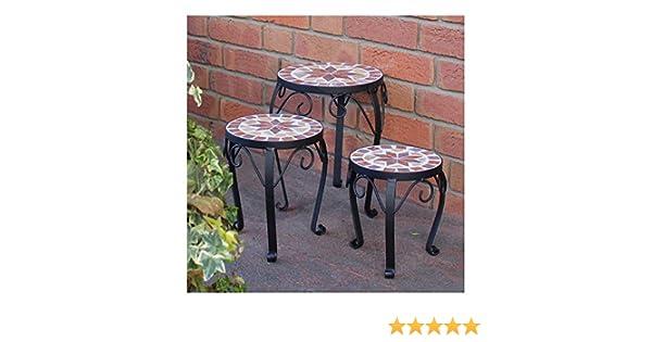 Set di sgabelli per fiori con mosaico in ceramica supporto