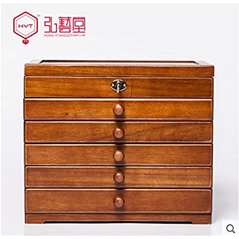 XYXY HYT Colore antico mano fatta in legno Jewelry Box Deposito organizzatore con custodia da viaggio Mini e regali di nozze di blocco . brown . b