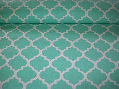 Erstklassiger Baumwollstoff 0,5lfm, 100% Baumwolle, modische Muster, Breite 160cm - Maroko mintgrün