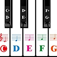 Color Piano Keyboard Stickers for 88/61/54/49/37 Key Multi-Color,Transparent,Removable Large Bold Letter Piano