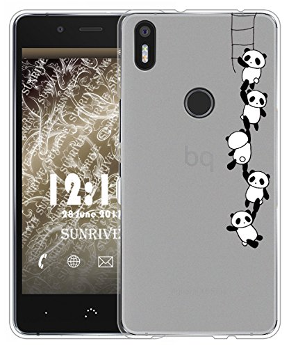 Für BQ Aquaris X5 Plus Hülle Silikon,Sunrive Handyhülle matt Schutzhülle Etui Case Backcover für BQ Aquaris X5 Plus(tpu Panda 1)+Gratis Universal Eingabestift