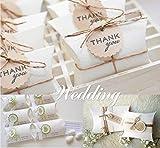 Absofine 100 Stk. Weiß Süßigkeiten Karton Hochzeit Gastgeschenke Geschenkboxen 7x9cm mit Juteschnur 60M für Süßigkeiten Schmuck Einladung Geschenk Party Fest - 4
