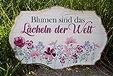 G.Handwerk Metall Schild 30x19cm - Blumen Sind Das Lächeln der Welt - Pink