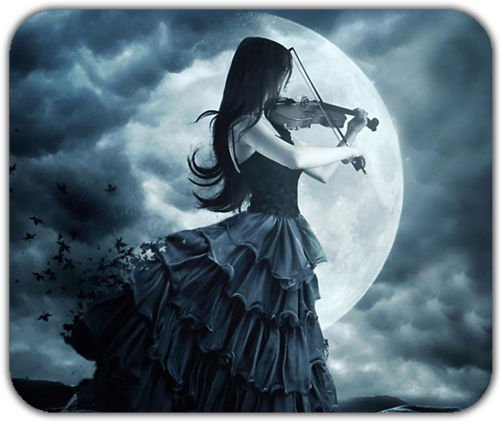 gothic-lonely-black-hair-girl-playing-violin-shadow-moon-light-mousepad-mat-pad