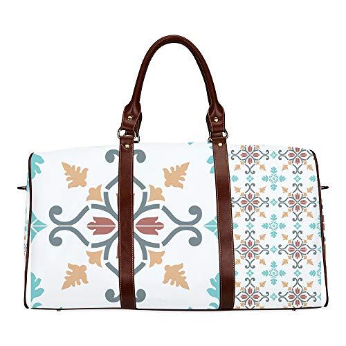 Travel Duffel Bag Blumen und marokkanischen Fliesen wasserdichte Weekender Bag über Nacht Carryon Handtasche Frauen Damen Einkaufstasche mit Mikrofaser Leder Gepäcktasche