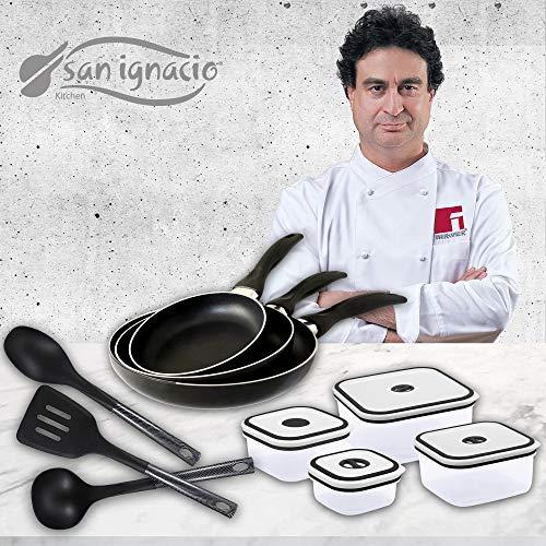 San Ignacio Navy Black Set de 3 sartenes + 4 recipientes herméticos + 3 Utensilios de Cocina, fiambreras