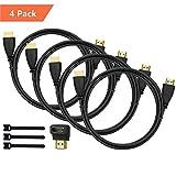 Perlegear HDMI Kabel 1.8m 4 Stücke für 4K Videowiedergabe, Full HD TV, 1080P, 3D, PS4, PS3, WII, Ethernet, Computer, L