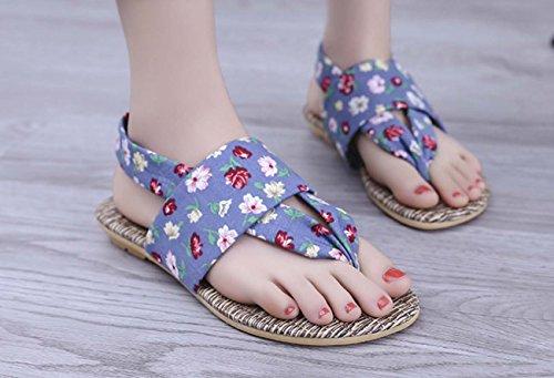 FARALY Panno di panno di colore della caramella del modello dei fiori del panno delle donne Pattern Pattino della punta del piede della punta del piede aperto del piede Sandalo casuale Blue