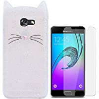 Hcheg Case Cover 3D en silicone pour Samsung Galaxy A3 (2016) Cat Design Clair Case Cover + 1X Protecteur d'écran