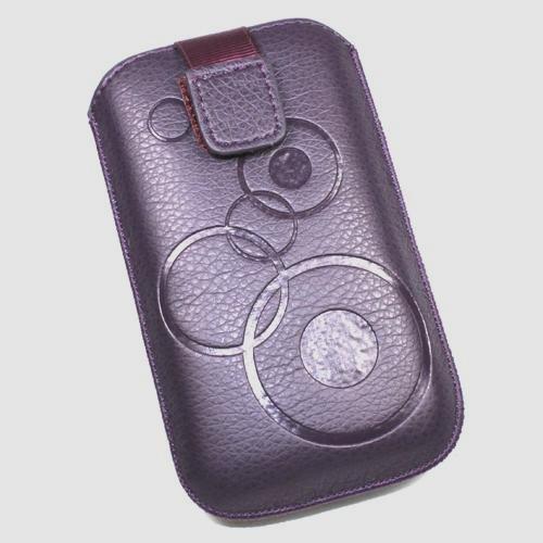 Schutzhülle Tasche Lederoptik violett L für Alcatel orange Klif