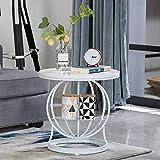Feifei Nordic Iron Art Runde Couchtisch, Wohnzimmer Sofa Beistelltisch, Marmor Tischplatte, Ablagetisch, Ecktisch, Gold, Weiß (Farbe : Weiß)