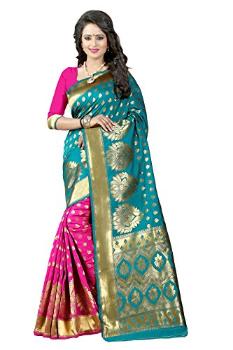 Shiya Tassar Silk Saree With Blouse Piece (Dark Green And Pink_Free Size)