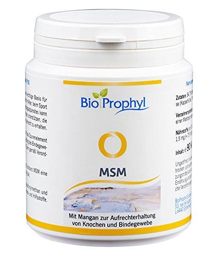 MSM - 750 mg reines Methylsulfonylmethan - natürliche, organische Schwefel Ergänzung hochdosiert mit hoher Bioverfügbarkeit, vegan hergestellt in Deutschland - 90 pflanzliche Kapseln für 1 Monat von BioProphyl®
