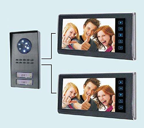 """Immagine di Videocitofono 7"""" per Bifamiliare (2 monitor + 1 telecamera 2 tasti) colori visione notturna (154)"""