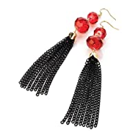 Black Chain tassled earrings with Red Beads