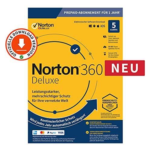 Norton 360 Deluxe 2020 | 5 Gerät | 1 Benutzer | 1 Jahr | PC/Mac | Aktivierungscode per Email