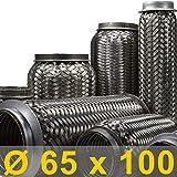 Flexrohr | Flexstück | Flexteil | Flexibles Rohr | Auspuff | Auspuffrohr | Mitteltopf | Endtopf | Hosenrohr | Abgasrohr | Drahtgeflecht | Flexschlauch | Universal (Innen Ø 65mm, Gesamt 100mm)
