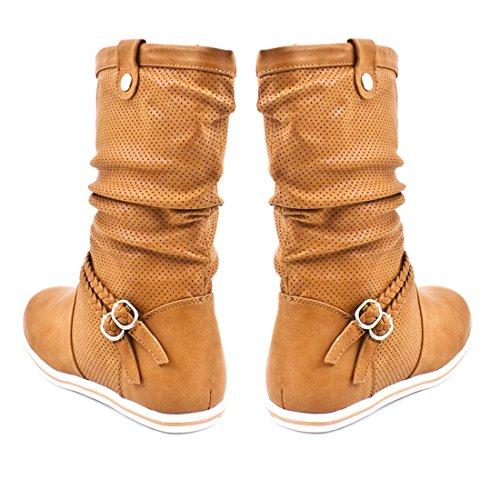 Damen Schlupf Stiefel Boots mit Lochmuster Flacher Absatz Lederoptik Khaki