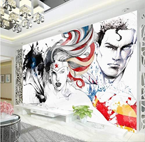 Wonder Woman Wallpaper Batman 3d Wand Wand Bildmaterial Gerechtigkeit Liga Foto Wallpaper Kinder Schlafzimmer Super Hero Wandverkleidung Kunst Raum Dekor Breite 200cm * Höhe140cm pro