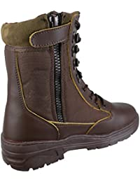 Savage Island Combat Boots Brown Leather Army Patrol Side Zip