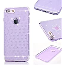 MOMDAD Strass Etui iPhone 6 6S TPU Silicone Coque iPhone 6 6S Souple Coque iPhone 6 6S 4.7 Pouces Ultra Mince Housse iPhone 6 6S TPU Silicone Coque Etui iPhone 6 6S Ultra Léger Premium Souple Gel Cas Cristal Silicone Gel Protecteur Housse-Purple