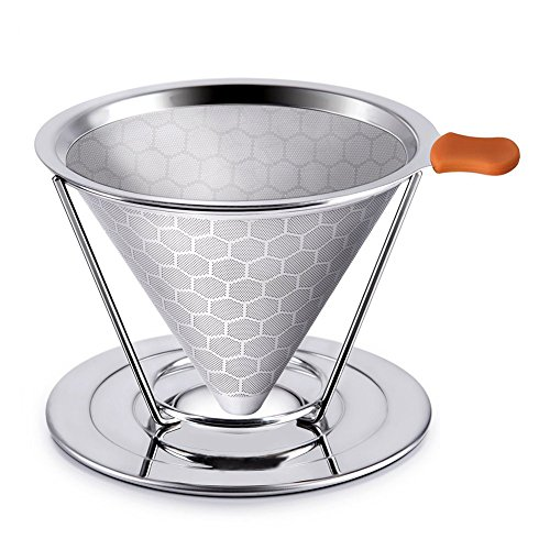 Pour Over Coffee Filter Stainless Steel Reusable Drip Cone Coffee Filter With Separate Stand and Silicone Handle Coffee Filter 51Xk6ZMFkPL