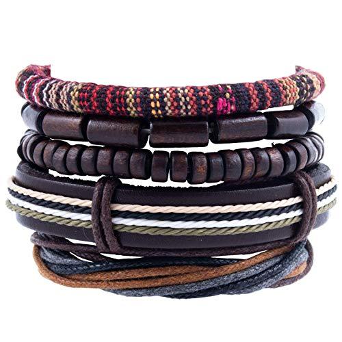 DeMa Jewelry mehrreihiges Armband mit Holzperlen aus Leder I Verschiedene Designs I größenverstellbar I handgefertigt ... (variant2)