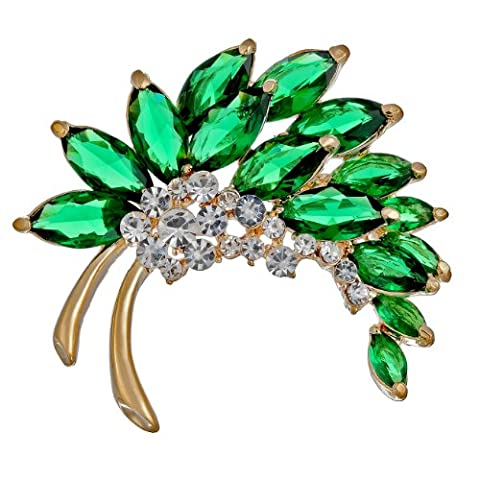 Janeo Brooches & Pins 14 carats (585/1000) Vert émeraude sur or 14 carats Kristall