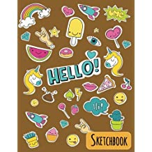 Hello! Sketch book: Art Sketch Book / Black Notebook: (8.5x11) Blank Paper Sketchbook, 120 Pages /Gold (Unicorn Cover) (Sketch Book - Art Drawing)